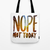 nope Tote Bags featuring Nope by Trend