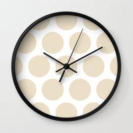 Large Polka Dots: Light Beige Wall Clock