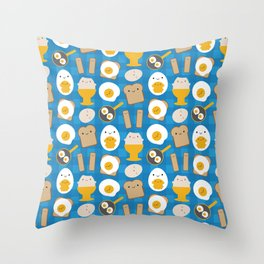 Kawaii Eggs For Breakfast Throw Pillow
