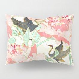 Floral Cranes Pillow Sham