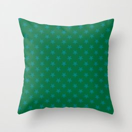 Teal Green on Cadmium Green Stars Throw Pillow