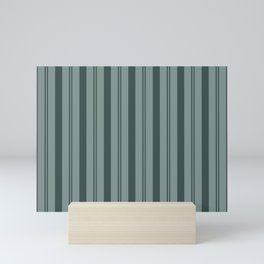 Night Watch Color of the Year PPG1145-7 Thick and Thin Vertical Stripes on Scarborough Green Mini Art Print