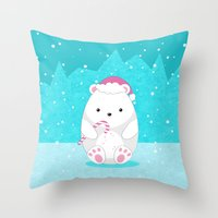 polar bear Throw Pillows featuring Polar bear by eDrawings38