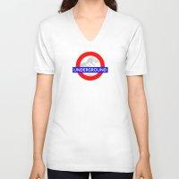 jurassic park V-neck T-shirts featuring LONDON UNDERGROUND : JURASSIC PARK SERVICE by DrakenStuff+