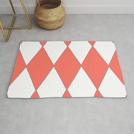 LIVING CORAL - LARGE HARLEQUIN DESIGN Rug