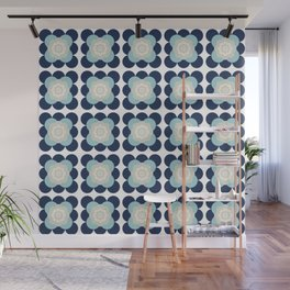 Retro Flower Pattern in Blue and Gray Wall Mural