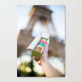 French macarons at the Eiffel Tower Canvas Print