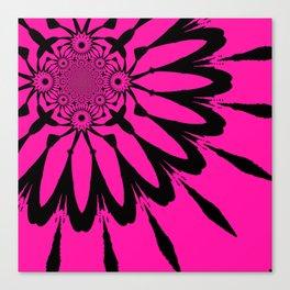 The Modern Flower Hot Pink & Black Canvas Print