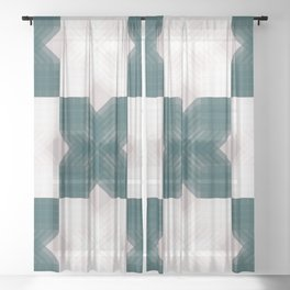 Green and White Opaque Intersections  Sheer Curtain
