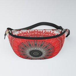 Bright Red White Mandala Design Fanny Pack