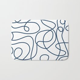 Doodle Line Art | Petrol Blue Lines on White Background Bath Mat
