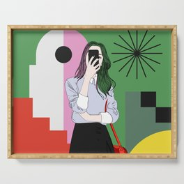 The magic of colours. Aesthetic wall art of young girl taking a selfie with her mobile phone Serving Tray