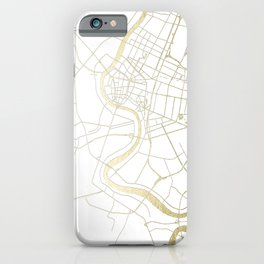 Bangkok Thailand Minimal Street Map - Gold Metallic and White II iPhone Case