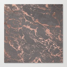 Modern Grey cement concrete on rose gold marble Canvas Print