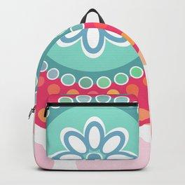 doll matryoshka, pink and blue, pink polka dot background Backpack