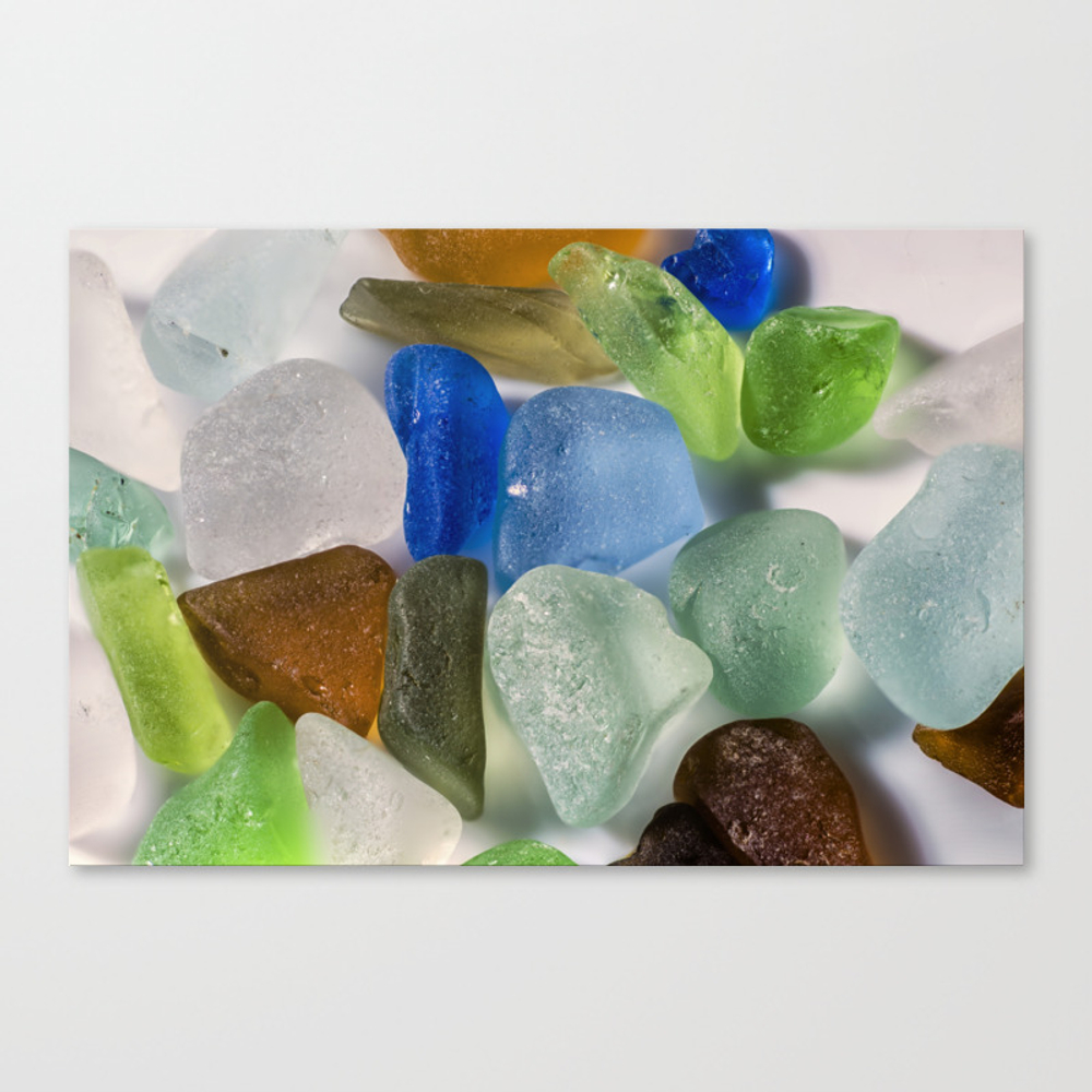 Colorful New England Beach Glass Canvas Print by Rogerporter CNV8821416