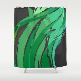 Dark Green Abstract Waves Shower Curtain