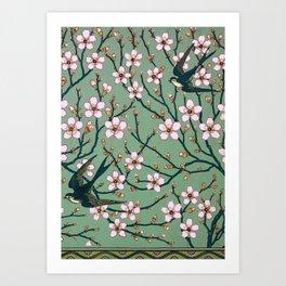 Almond Blossoms Walter Crane vintage Art Print