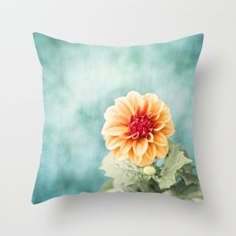 Aqua Orange Dahlia Flower Photography, Turquoise Teal Peach Nature Art Throw Pillow