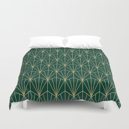 Art Deco Vector in Green and Gold Duvet Cover