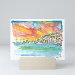 Marigot Waterfront Sunset View in Saint Martin West Indies Mini Art Print