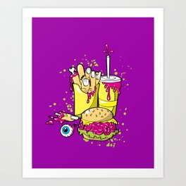 ZOMBIE MEAL - 80'S Halloween horror Art Print