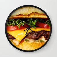 burger Wall Clocks featuring Burger by Jamie Danielle