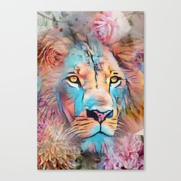 Colorful Lion Full Mane Surrounded by Flowers Canvas Print
