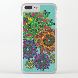 Swirls Abstract - Teal Clear iPhone Case