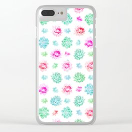 Blush pink teal modern trendy summer cactus floral Clear iPhone Case