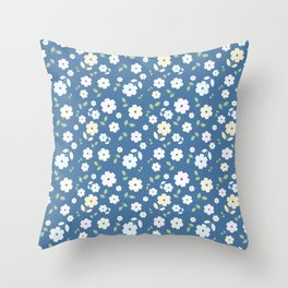 Small Flowers on Blue Throw Pillow