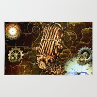steampunk Area & Throw Rugs featuring Steampunk, micropphone by nicky2342