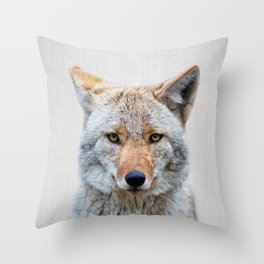 Coyote - Colorful Throw Pillow