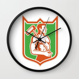 Union Worker With Sledgehammer Shield Retro Wall Clock