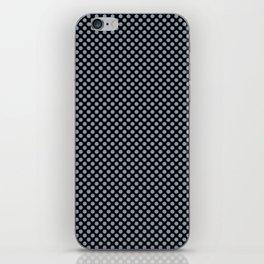 Black and Dusty Blue Polka Dots iPhone Skin