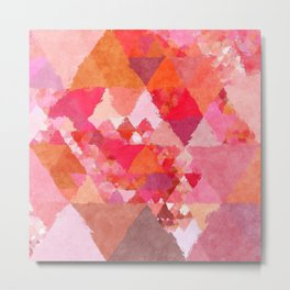 Into the heat - Pink and red watercolor Triangle pattern Metal Print