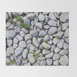 Sea Stones - Gray Rocks, Texture, Pattern Throw Blanket