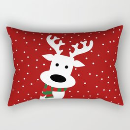 Reindeer in a snowy day (red) Rectangular Pillow