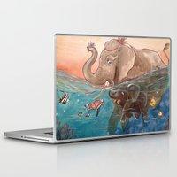 elephants Laptop & iPad Skins featuring Elephants by Paloma  Galzi