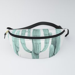 Turquoise Cactus Watercolor Painting Fanny Pack