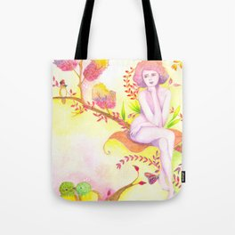 Women thinking and two little birds Tote Bag