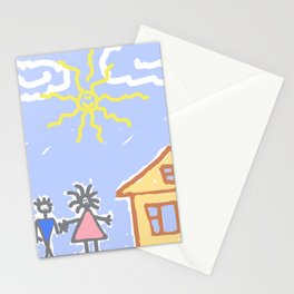 child's drawing with happy family Stationery Cards