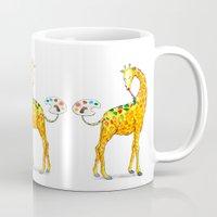 giraffe Mugs featuring Giraffe by gunberk
