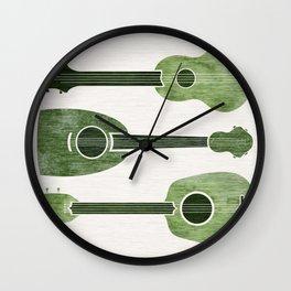 Hawaiian Ukuleles - Emerald Green Wall Clock