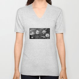 Wild Blowball in the Wind - Line Draw Art Style Unisex V-Neck