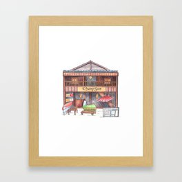 Rustic wooden hut front view travel sketch from Koh Rong tropical island, Cambodia Framed Art Print