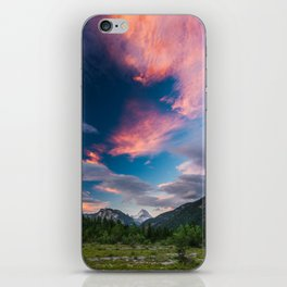 Amazing sunset clouds over mountain Mangart iPhone Skin