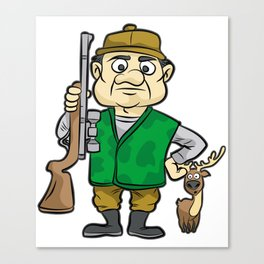 HUNTER WITH DEER Hunting Rifle forester warden Canvas Print