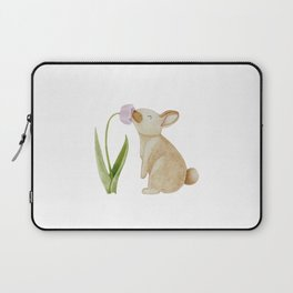 Bunny smelling a Tulip Laptop Sleeve