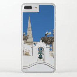 storks build nests on the church in the old town of faro, portugal, europe Clear iPhone Case